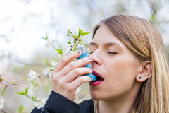 Young woman with pollen allergy problems Stock Image