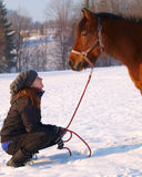Young woman and pony Royalty Free Stock Image