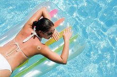 Young woman in the pool. Young woman relaxing in the pool Stock Image