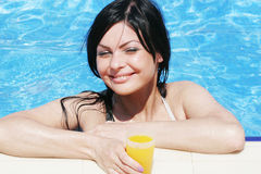 Young woman at a pool Royalty Free Stock Photo