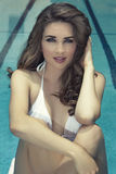 Young woman at pool Royalty Free Stock Photography