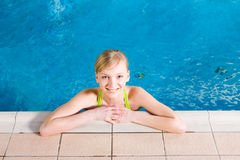 Young woman in pool royalty free stock photos