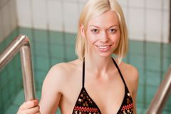 Young Woman Pool Portrait Stock Photography