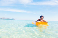 Young Woman With Pool Raft stock photo