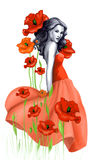 Young woman and poppy Royalty Free Stock Image