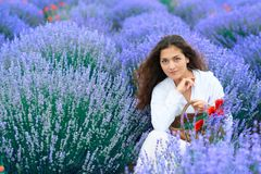 Young woman with poppy is in the lavender flower field, beautiful summer landscape royalty free stock images