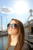 Young woman at the port Royalty Free Stock Photography