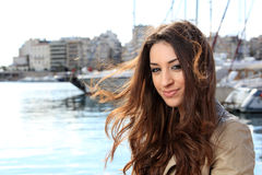 Young woman at the port Stock Image