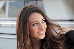 Young woman at the port Royalty Free Stock Photo