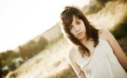 Young woman portrait. Young sensual girl staring at camera Royalty Free Stock Photos