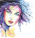 Young woman portrait. Aquarelle style young woman portrait Royalty Free Stock Photography