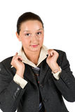 Young woman portrait. Cute young woman posing with hands on her collar shirt isolated on white background,check also Business people ,laptop and money Stock Photos