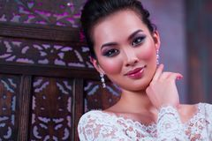 Young woman portrait. Young asian woman fashion indoors portrait Royalty Free Stock Photos