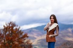 Young woman portrait in autumn color Stock Photography