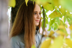 Young woman portrait in autumn color royalty free stock photo