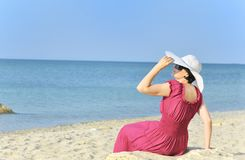 Young woman portrait on the beach Royalty Free Stock Photos