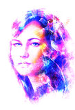 Young woman portrait, and blue eye , with bird, color painting and spots structure, Abstract background. Stock Image