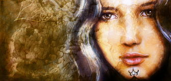 Young woman portrait, color painting on abstract background, computer collage. Stock Photography