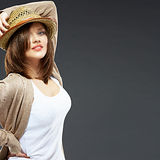 Young woman portrait with hat. Stock Image