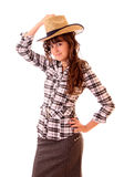Young woman portrait in hat isolated Stock Image