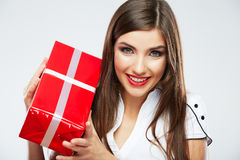 Young woman portrait hold christmas gift. Stock Photo
