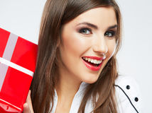 Young woman portrait hold christmas gift. Royalty Free Stock Photography