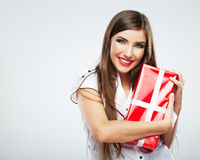 Young woman portrait hold christmas gift. Stock Images