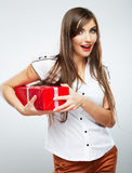 Young woman portrait hold christmas gift. Stock Photography