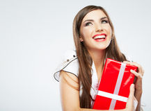 Young woman portrait hold christmas gift. Stock Photos