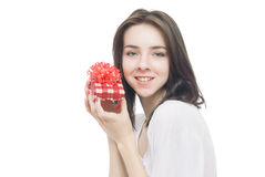 Young woman portrait hold gift Stock Image