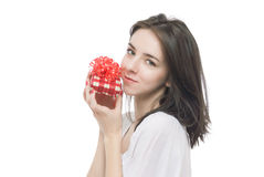 Young woman portrait hold gift Royalty Free Stock Photography