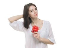 Young woman portrait hold gift Royalty Free Stock Photos
