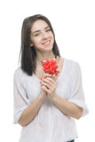 Young woman portrait hold gift Stock Photos