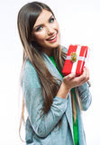 Young woman portrait hold gift in christmas color style . Smili Stock Image