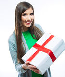 Young woman portrait hold gift in christmas color style . Stock Photography