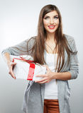 Young woman portrait hold gift in christmas color style Stock Photo