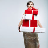 Young woman portrait hold gift in christmas color  Royalty Free Stock Images
