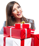 Young woman portrait hold gift in christmas color  Stock Photography