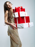 Young woman portrait hold gift Stock Photo