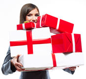 Young woman portrait hold gift in christmas color  Royalty Free Stock Photography