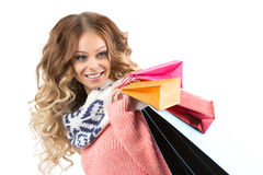 Young woman portrait hold gift. Smiling happy girl. Stock Image