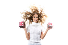 Young woman portrait hold gift. Smiling happy girl on white background. Stock Photography