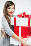 Young woman portrait hold many  gift in christmas color style . Royalty Free Stock Photography