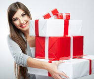 Young woman portrait hold many  gift in christmas color style . Stock Images