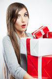 Young woman portrait hold many  gift in christmas  Stock Images