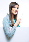 Young woman portrait hold toothy brush. Royalty Free Stock Photography