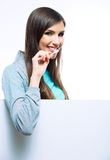Young woman portrait hold toothy brush. Woman portrait with blank board hold toothy brush. Isolated Royalty Free Stock Photos