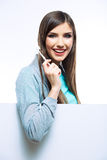 Young woman portrait hold toothy brush. Royalty Free Stock Photos