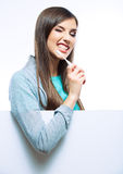 Young woman portrait hold toothy brush. Isolated Royalty Free Stock Images