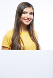 Young woman portrait hold toothy brush. Royalty Free Stock Image